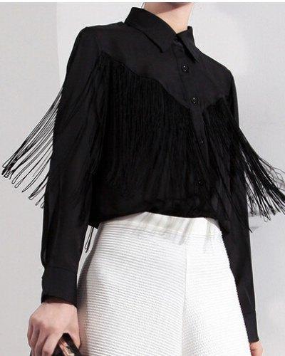 black fringe button up shirt white midi shirt