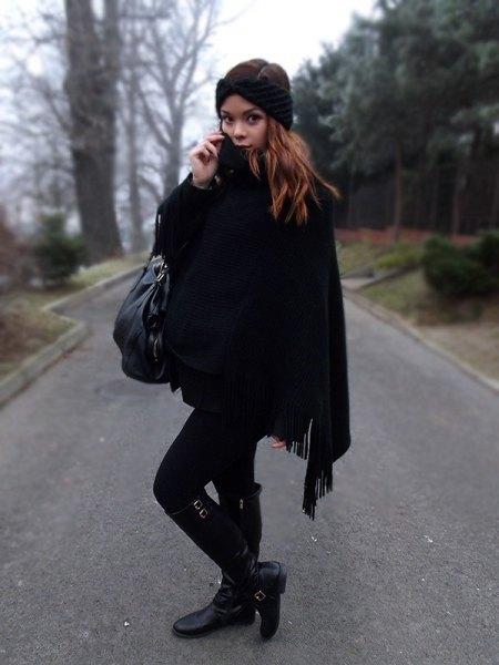 black fringe poncho skinny jeans boots