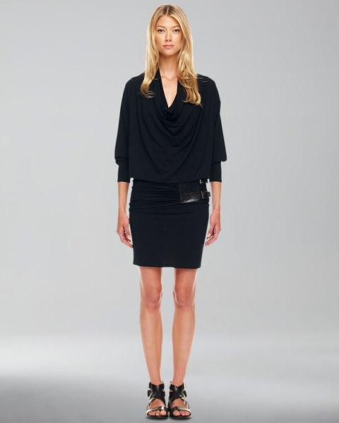 black half sleeve bodycon blouson mini dress