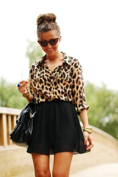 black high waisted chiffon skater mini skirt