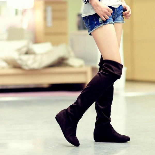 black knee high fold over boots denim shorts