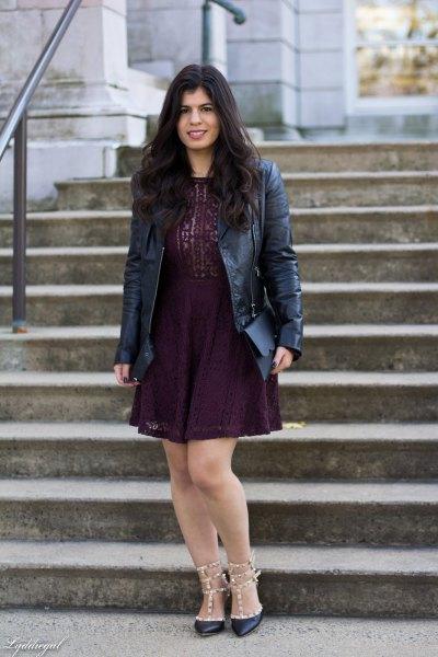 black lace mini shift dress