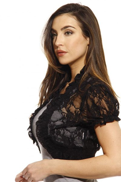 black lace shrug grey form fitting mini dress
