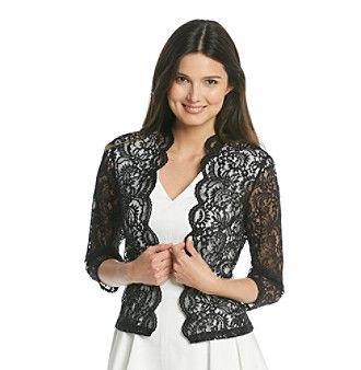 black lace shrug white v neck pleated skater dress