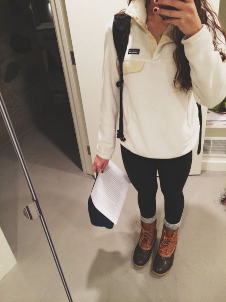 black leggings brown leather ankle boots