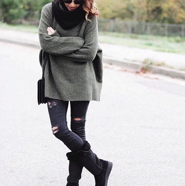 black mid calf fold over boots grey chunky knit sweater