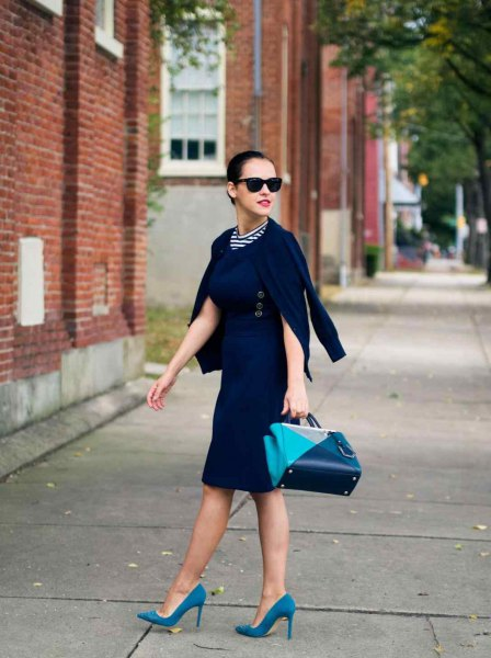 black midi dress navy blue suede heels