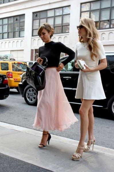 black mock neck cropped sweater white flared semi sheer maxi skirt