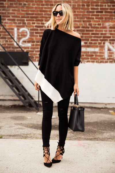 black poncho one shoulder top