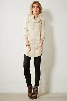 black ponte pants grey cowl neck knit sweater dress