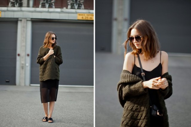 black relaxed fit midi cami dress oversized knit cardigan