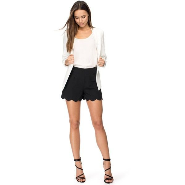 black scalloped hem flowy shorts white blazer