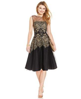 black semi sheer lace midi skater dress