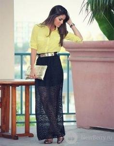 black sheer maxi skirt yellow button up shirt silver belt