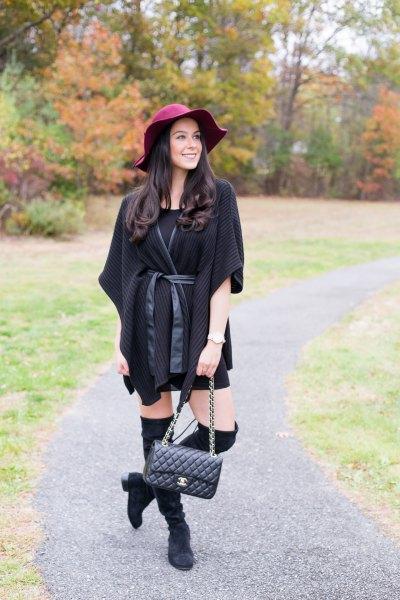 black shift dress belted poncho