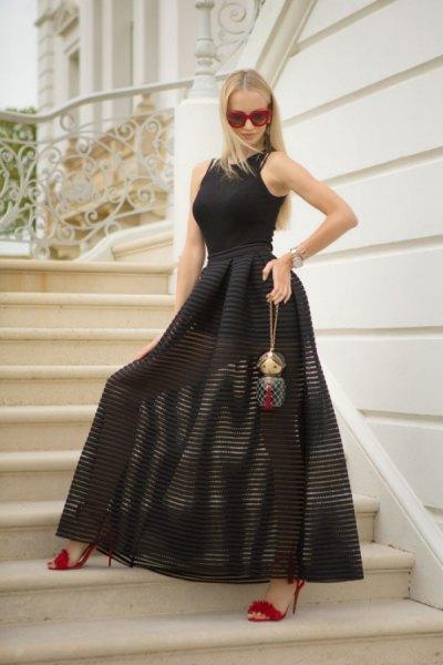black sleeveless top striped maxi skirt