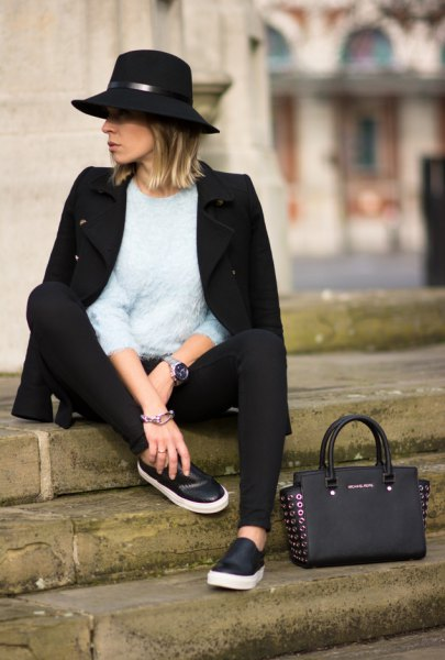 black slip on shoes wool coat felt hat