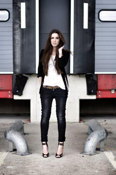 black suede fringe jacket skinny jeans