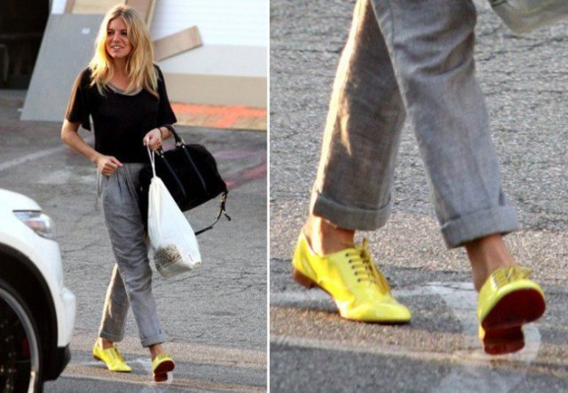 black t shirt grey pants yellow oxford shoes