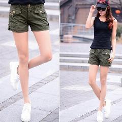 black tank top with khaki cargo mini shorts