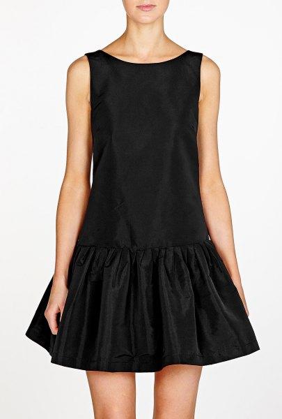 black tank velvet drop waist dress