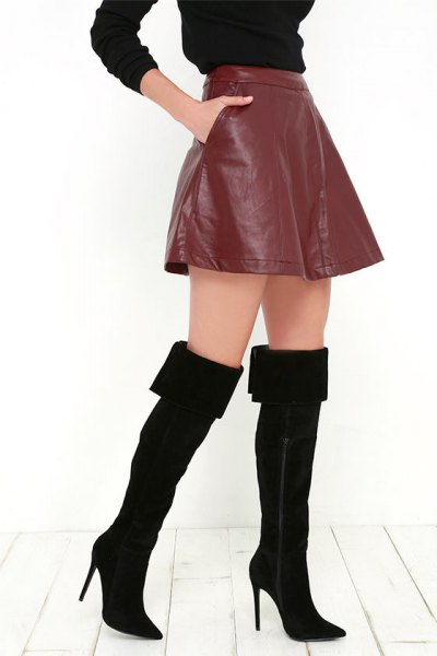 black thigh high fold over boots brown leather mini skirt