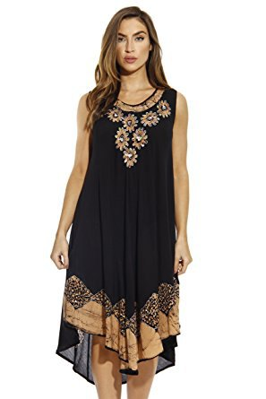 black tribal embroidered tank high low midi shift dress