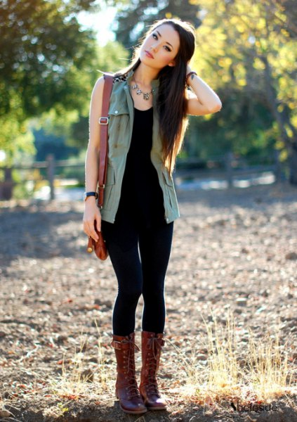 black vest top lace up boots