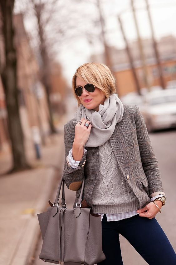 blazer with elbow patches grey look