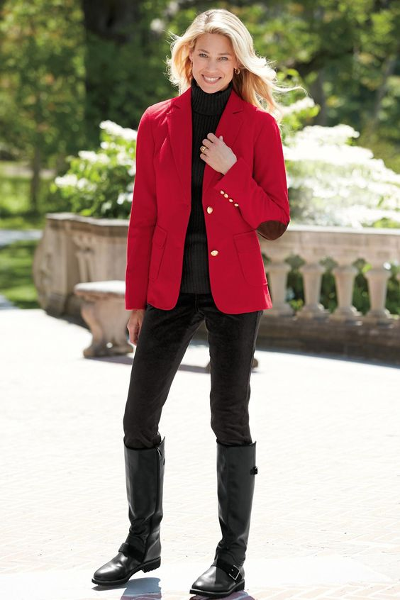 blazer with elbow patches red