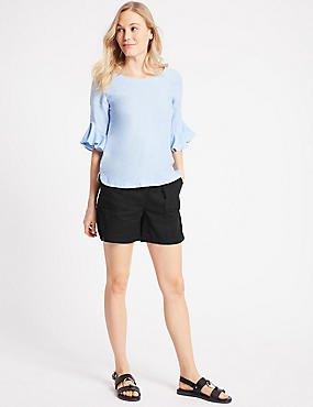 blue bell sleeve chiffon blouse black cargo shorts