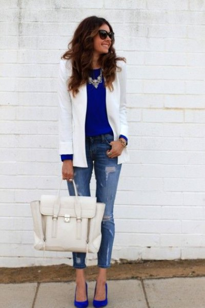blue chiffon blouse white blazer