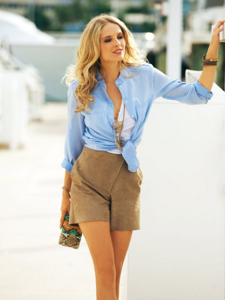 blue chiffon knotted shirt green suede shorts
