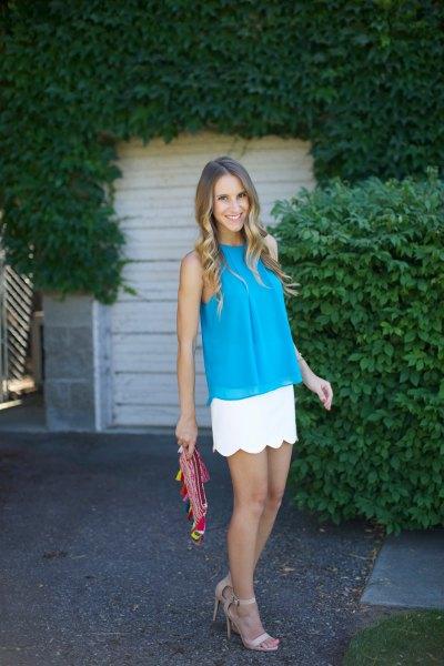 blue chiffon sleeveless blouse white scallop skirt