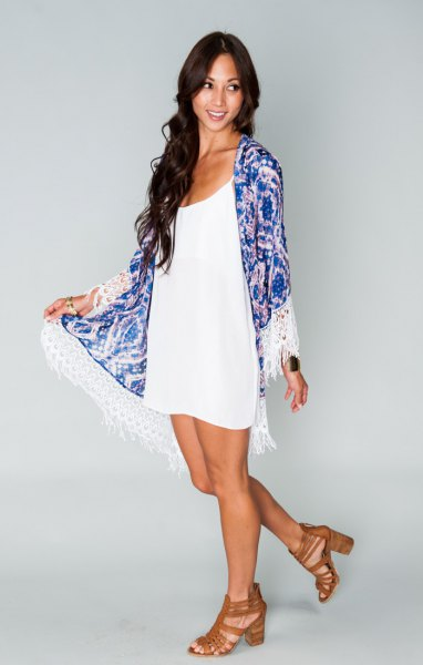 blue kimono with white scoop neck mini shift dress