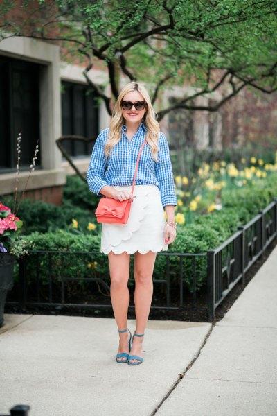 blue plaid shirt white wrap skirt