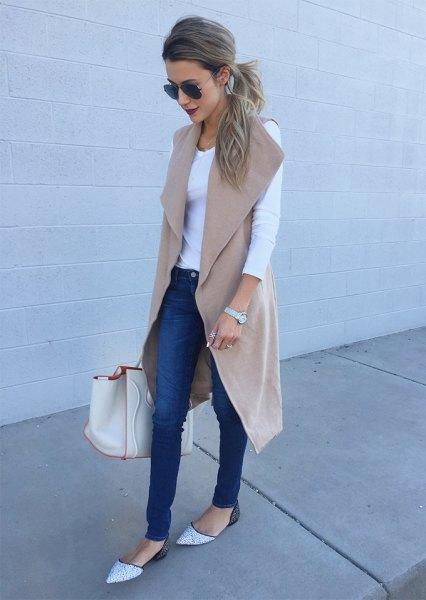 blush pink wool sleeveless long grey white top jeans