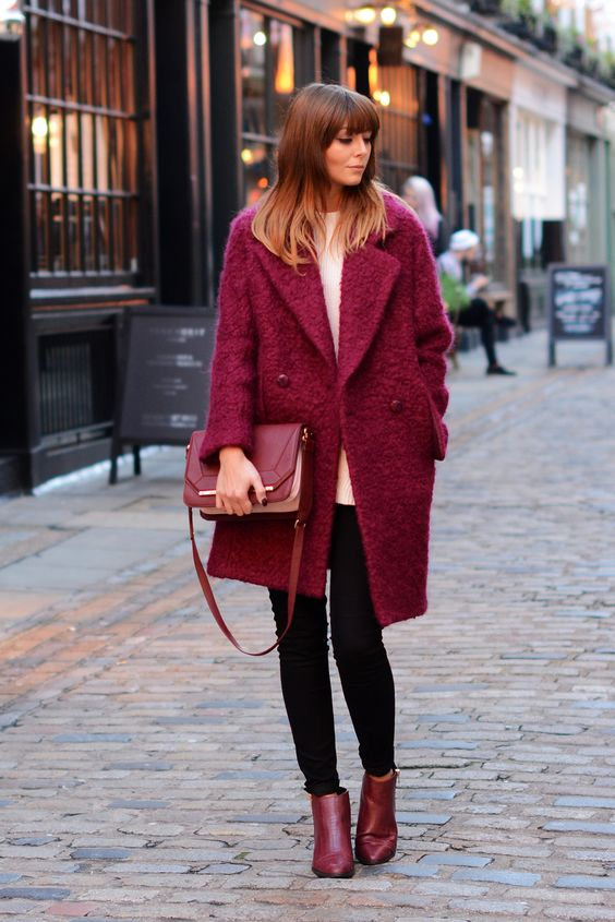 boucle coats wine red