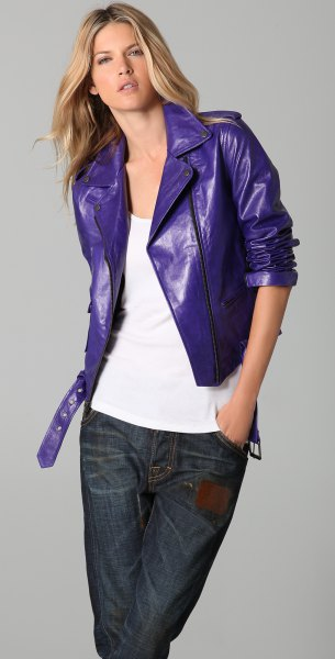 bright purple leather jacket white tank top jeans