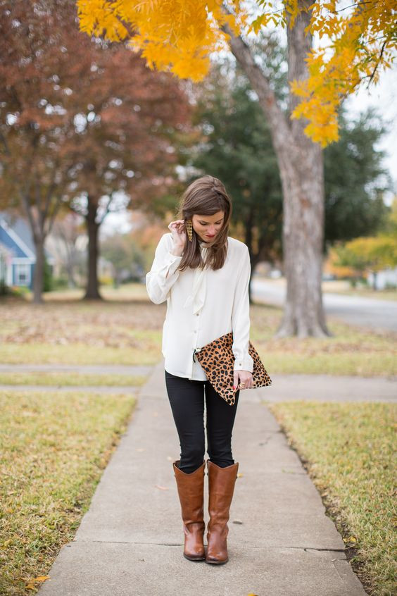 brown riding boots leopard details