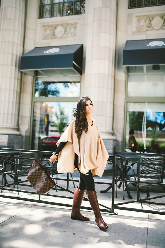 brown riding boots poncho