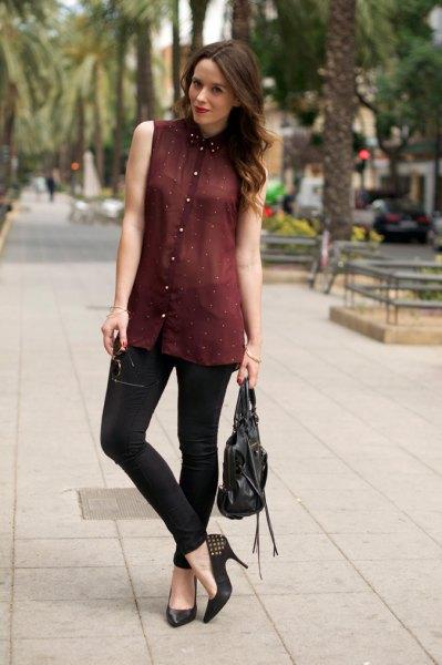 burgundy chiffon semi sheer black collar shirt