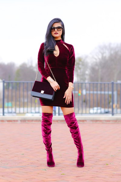 burgundy cutout front bodycon mini dress