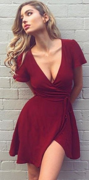 burgundy deep v neck mini wrap dress