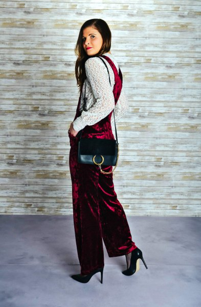 burgundy velvet overalls white lace long sleeve blouse