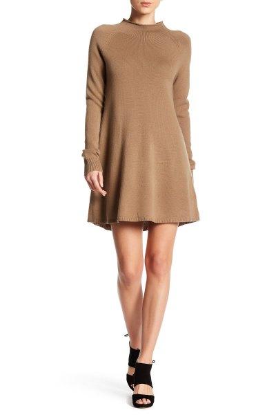 camel flared mini cashmere dress
