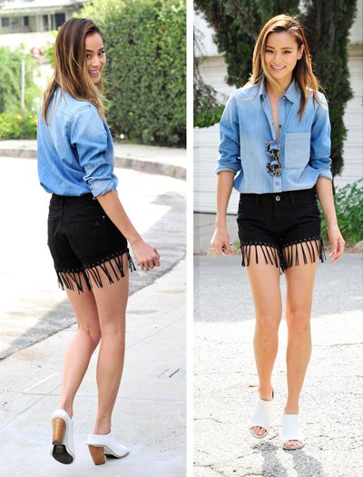 chambray button up shirt black fringe shorts