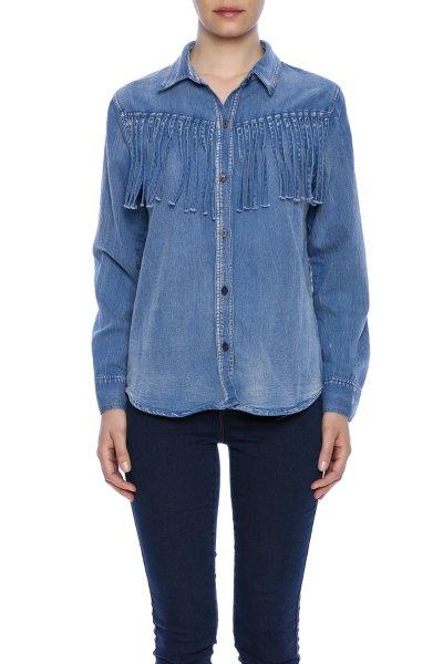 chambray fringe shirt dark blue skinny jeans