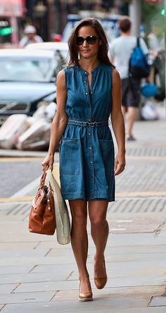 chambray shirt dress gold pointed toe heels