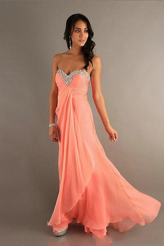 coral prom dress embellished hem